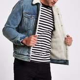 River Island Mens Blue Levi's faux shear denim trucker jacket