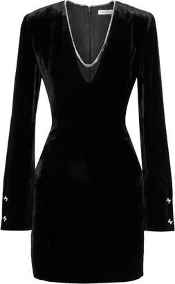 Thierry Mugler Chain-trimmed Velvet Mini Dress