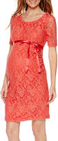 Asstd National Brand Planet Motherhood Elbow Sleeve Lace Dress with Bow Belt
