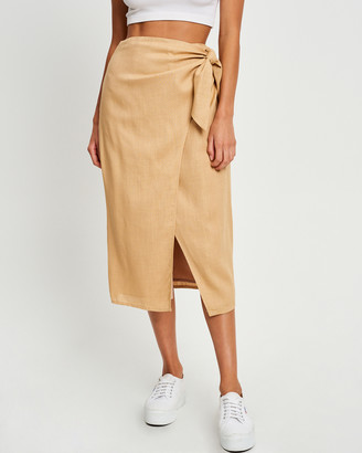 Calli - Women's Neutrals Midi Skirts - Yvette Wrap Skirt - Size One Size, 8 at The Iconic