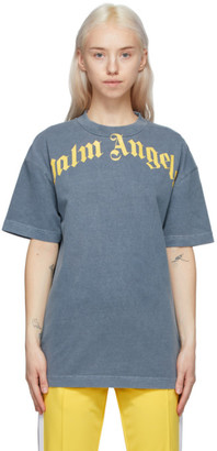 Palm Angels Navy and Yellow Vintage T-Shirt