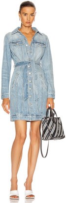 Givenchy Belted Denim Mini Dart Dress in Blue | FWRD