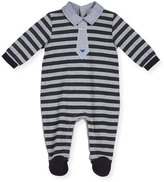 Armani Junior Striped Chambray-Trim Footie Pajamas, Gray/Navy, Size 3-12 Months