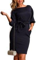 BY&M Women's Plus Size 3/4 Lantern Sleeve Stretch Sheath Dress With Belt