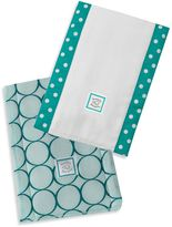 Swaddle Designs Jewel Tone Mod Circles Baby Burpies® in Turquoise (Set of 2)