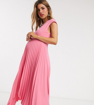 ASOS DESIGN Maternity v back midi dress with pleated asymmetric skirt in pink