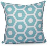 16 in. x 16 in. Honeycomb Geometric Print Pillow in Aqua