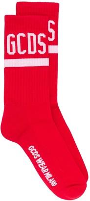 GCDS Ribbed Contrast Logo Socks