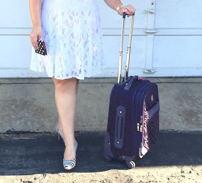 """Look by Katie Klink featuring Anne Klein Mane Line 24"""" Expandable Spinner - Tan/Brown Suitcases"""