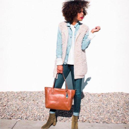 Casual fall fashion look. #layers #fallfashion #tote