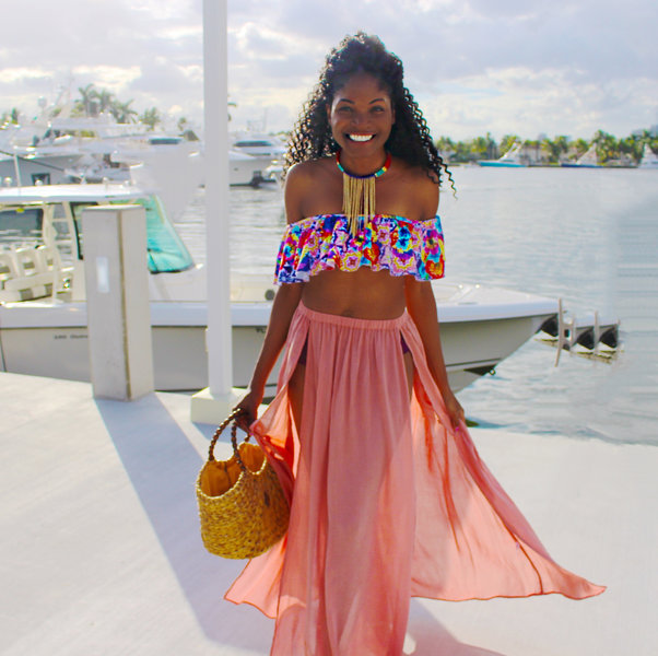 Ruffles and crop top sign me up | Perfect for your next vacation or cruise add a flowy statement Maxi beach coverup to complete this stunning look! #swimsuit #beach #onepiece #beachhat #travel #travelpic #ootd #florida #maxi #coverup