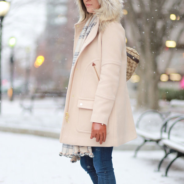 Look by whatjesswore featuring J.Crew - Chateau Faux Fur-trimmed Wool-blend Coat - Black