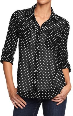 Old Navy Women's Printed-Chiffon Buttoned Blouses