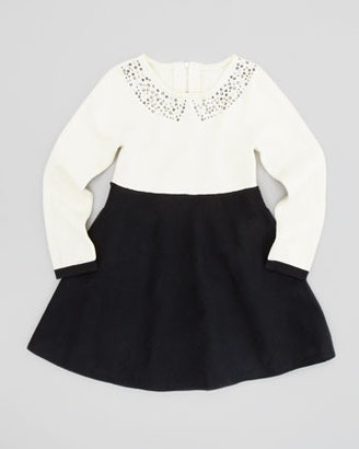 Milly Minis Rhinestone-Collar Dress, Ecru, Sizes 8-10