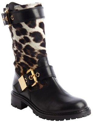 Giuseppe Zanotti black leather leopard print calf hair buckle detail boots