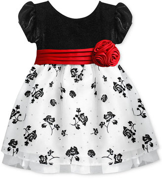 Bonnie Baby Dress, Baby Girls Short-Sleeved Empire Flower Flocked Occasion Dress