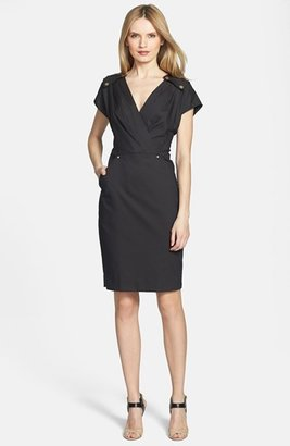 Rachel Roy Studded Detail Wrap Front Stretch Cotton Dress