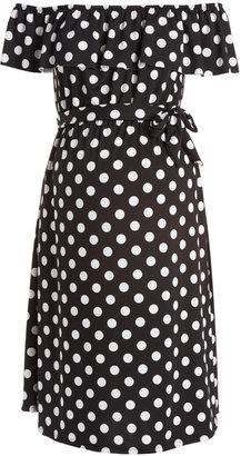 Hello Miz Black & White Dot Ruffle Maternity Off-Shoulder Dress