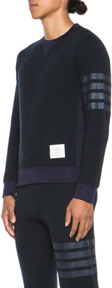 Thom Browne Crewneck Pullover Sweatshirt in Navy