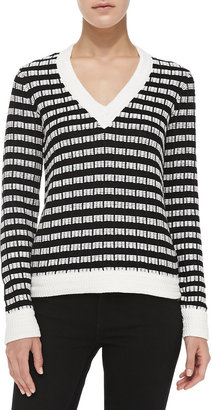 Joseph V-Neck Basket-Weave Sweater
