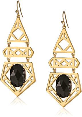 """Trina Turk Cubist House"""" Gold-Plated Drama with Stone Chandelier Drop Earrings"""