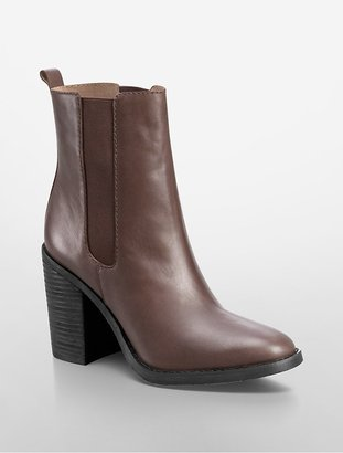 Calvin Klein Maggie Leather Mid-Length Bootie