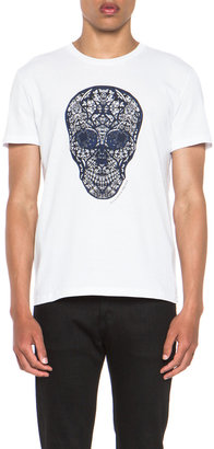 Alexander McQueen Stained Skull Tee in White & Blue