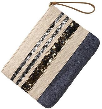 Gap Sequin stripe zip clutch