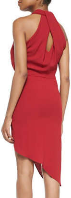 Halston Jersey Draped-Neck Wrapped Dress