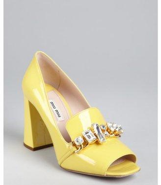 Miu Miu Canary Patent Leather Jewel Embellished Loafer Pumps