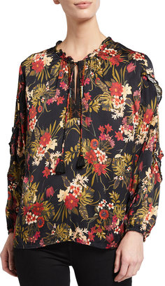 Johnny Was Plus Size Floral Print Ruffle Detail Blouse