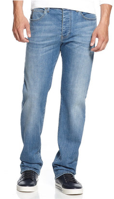 Armani Jeans Men's Straight-Fit Jeans, Light Wash $125 thestylecure.com