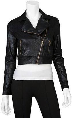 Iz Byer california faux-leather crop moto jacket - juniors