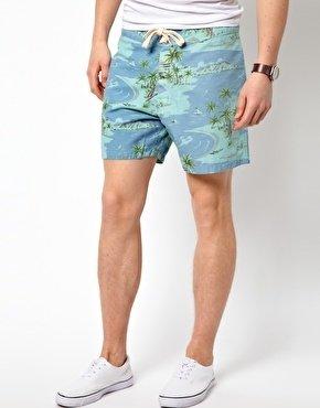 Lightning Bolt Printed Beach Pelican Shorts - Blue