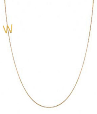 "Maya Brenner Designs Mini Letter Necklace ""W"""