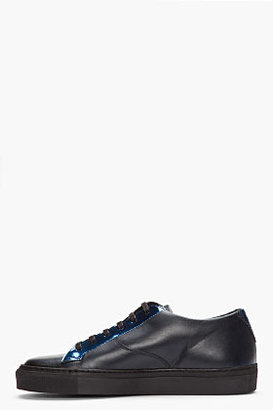 Raf Simons Black leather and metallic blue low-tops