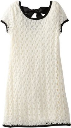 My Michelle Girls 7-16 Short Sleeve Crochet Dress with Contrast Trim