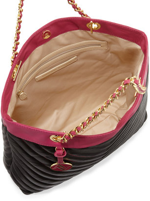 Adrienne Vittadini Eve Quilted Tote, Black/Raspberry
