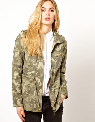 Vila Camo Jacket with Drawstring Waist