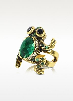 Alcozer & J Brass and Emerald Frog Ring