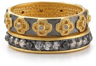 FREIDA ROTHMAN Clover & Eternity Stackable Rings, Set of 2