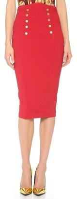 L'Wren Scott Gold Button Pencil Skirt
