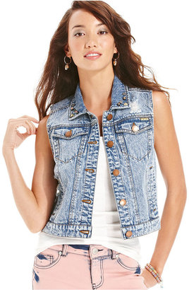 Tinseltown Juniors Vest, Acid-Wash Skull Embellished Collar