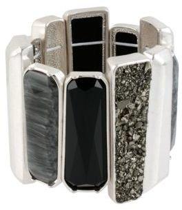 Kenneth Cole NEW YORK Silver & Black-Tone Bangle Bracelet