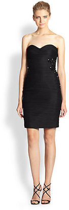 Monique Lhuillier Strapless Ruched Cocktail Dress