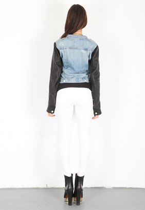 Rag and Bone The Jean Jacket with Leather Sleeves in Tattered