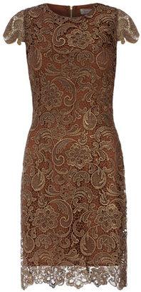 Dorothy Perkins Metallic bronze lace dress