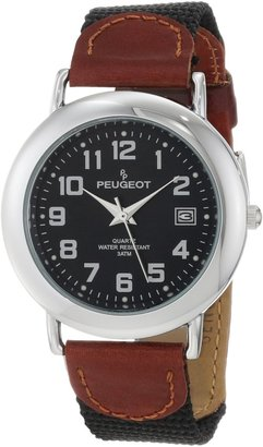 Peugeot Unisex Black dial with Date Calendar Window Brown Strap