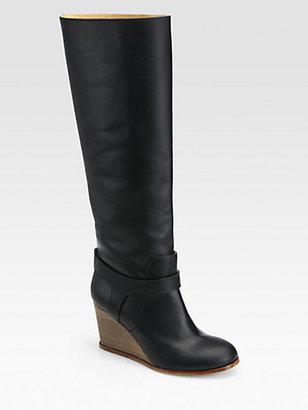 Maison Martin Margiela Leather Knee-High Wedge Boots