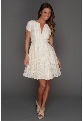 BCBGMAXAZRIA Kirsten Patchwork Lace Shirtdress (Rose Whisper) - Apparel